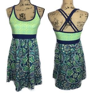 Téhama sz m blue green crossback midi dress boho